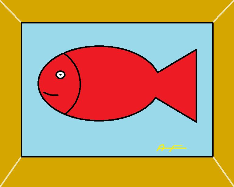 tableau représentant un poisson rouge
